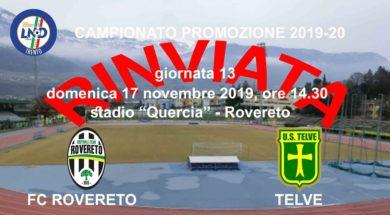FC Rovereto-Telve rinviata